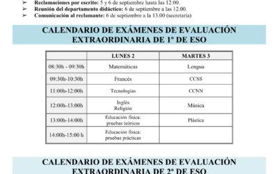 Exámenes de Septiembre ESO y Bachillerato