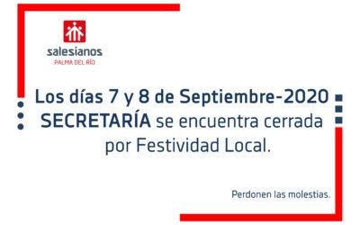 Secretaría cerrada por Festividad Local