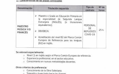 Convocatoria Plazas Primaria Especialidad Inglés