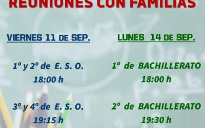 Horario Reunión con Familias ESO y Bachillerato