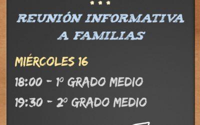 Reunión con Familias FP Grado Medio y FPB